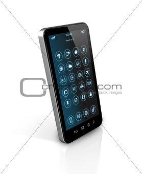 Smart phone with apps icons interface