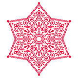 Christmas red snowflake lace design