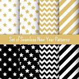 Set of black, white and gold seamless New Year party patterns