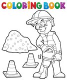 Coloring book construction worker 3