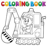 Coloring book excavator operator theme 1