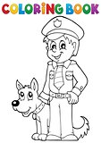 Coloring book policeman with guard dog