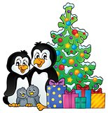 Penguin family Christmas theme 1