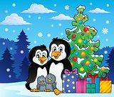 Penguin family Christmas theme 2