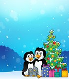 Penguin family Christmas theme 3