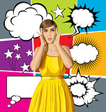 Vector Surprised Girl in Dress with Bubble Speech