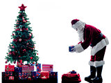 santa claus christmas tree silhouette isolated