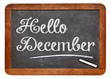 Hello December sign on blackboard