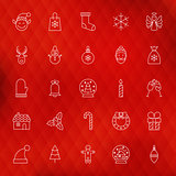 Christmas New Year Thin Line Icons Set