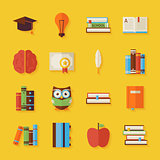 Flat Reading Knowledge and Books Objects Set with Shadow