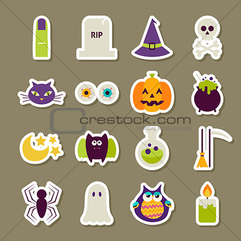 Flat Scary Halloween Stickers Collection