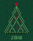 Christmas tree with red stylized star and balls