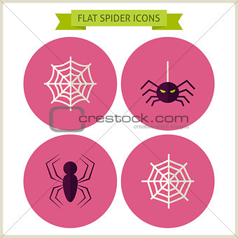 Flat Scary Spider Website Icons Set