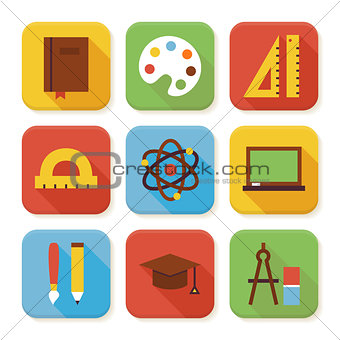 Flat School and Education Squared App Icons Set