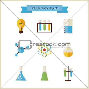 Flat School Chemistry and Science Objects Set