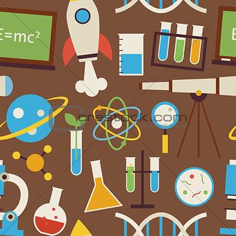 Flat Seamless Pattern Science and Education Objects over Brown