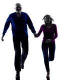 couple senior running happy silhouette
