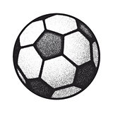 vector black grunge soccer ball on white