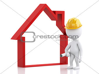 3d Architect people with helmet, plans and house.