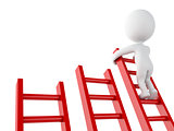 3d White people climbing ladder. Success in business.