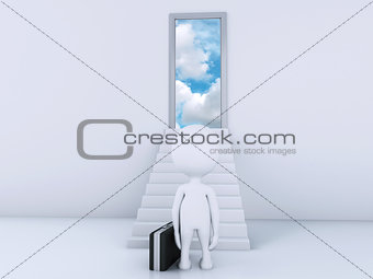 3d white people climbs the ladder to the doors of heaven.
