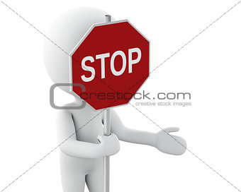 3d white people standing and holding a stop sign.