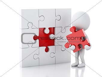 3d white people assemble piece of a puzzle.