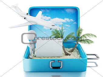 3d white people with signboard in a travel suitcase. Summer conc