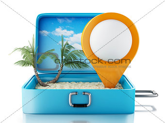 3d Map pointer in a travel suitcase.