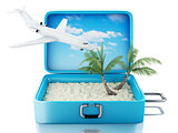 3d Travel suitcase. Isolated white background