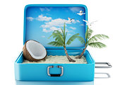 3d paradise beach travel suitcase. Isolated white background