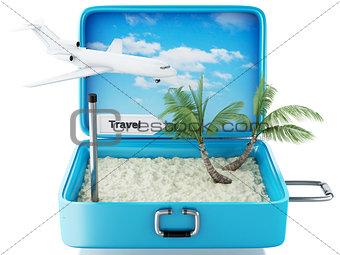 3d paradise beach travel suitcase. Isolated white background