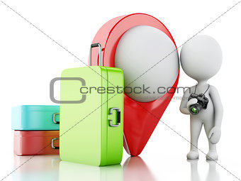 3d White people tourist with travel suitcases and camera.