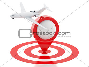 3d Travel suitcase, airplane and map pointer in red target.