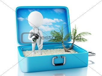 3d white people tourist with camera in a travel suitcase.