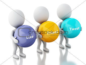 3d White people with social media bubbles