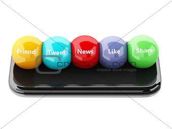 3d smartphone with social media bubbles