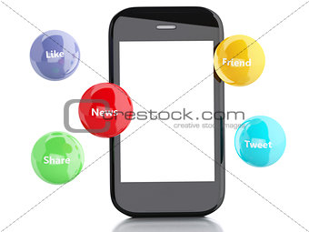 3d smartphone with social media bubbles