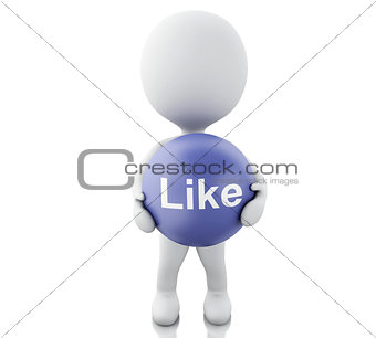 3d White people with Like symbol