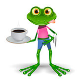 Frog with cup of coffee