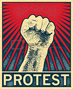 clenched fist held high in protest, vector illustration.