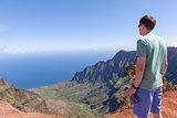 man hiking at kauai