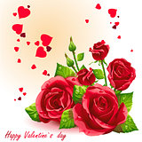 Card for Valentine's Day red roses
