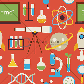 Flat Seamless Pattern Science and Education Objects over Red