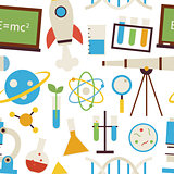 Flat Seamless Pattern Science and Education Objects over White