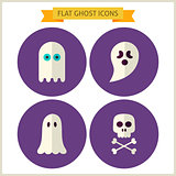 Flat Spirit Ghost Website Icons Set