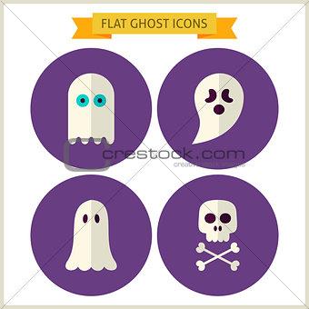 Flat Spirit Ghost Website Icons Set