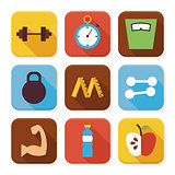 Flat Sport and Fitness Squared App Icons Set