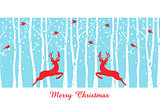 Christmas deers in birch tree forest, vector