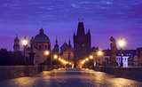 Morning sunrise Charles bridge Prague